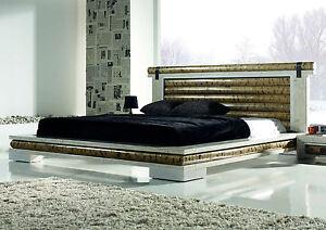 futonbett sha 180x200 weiss mit lattenrost bambusbett doppelbett designerbett ebay. Black Bedroom Furniture Sets. Home Design Ideas