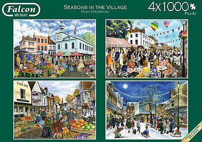 Seasons Puzzle Set - NEW! Falcon de luxe Seasons in the Village 4 x 1000 piece nostalgic puzzle set