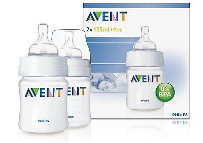 Philips Avent 4oz/125ml Classic Feeding Baby Bottle BPA-Free TWIN Pack SCF680/27