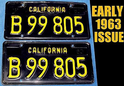 Early 1963 Ca California Commercial License Plate Dmv Clear 63 1972 Pickup Truck