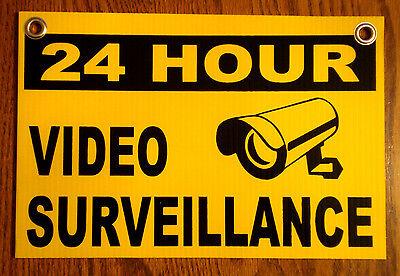 24 Hour Video Surveillance Coroplast Outdoor Sign 8x12 Wgrommets  New