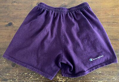 Vintage 90's Champion Spellout Purple Elastic Drawstring Shorts Mens Size Large