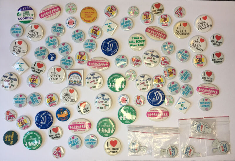 Lot Of Vintage Girl Scout Button Pins