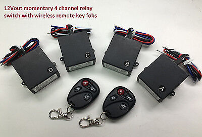 12v 4 channels MOMENTARY relay remote control switch wireless key fob RM400