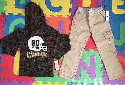 NWT Kids Headquarters Boys Football Champs Top Shirt Khaki Pants Outfit Set 5