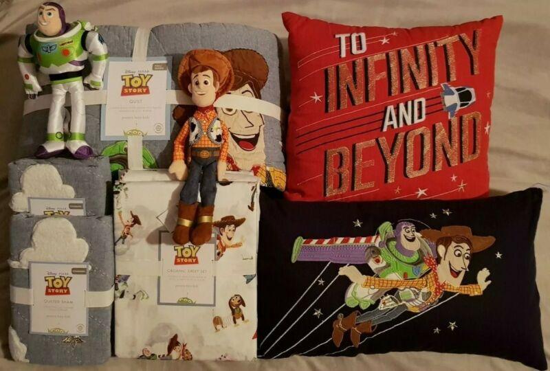 Pottery Barn Kids Disney & Pixar Toy Story Queen Quilt Sheet Set Pillows Bundle