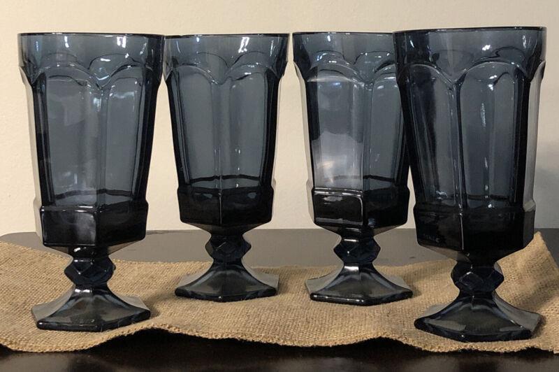 "4 Vintage Cobalt Blue Fostoria Virginia Iced Tea Water Goblets Glasses 6 3/4"""