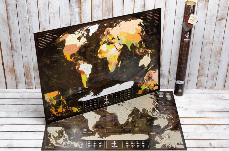 Coffee & Chocolate Scratch the World Poster.Personalized World Map. Original