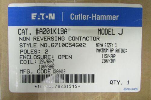 EATON  CUTLER HAMMER A201K1BA 27 AMP Size 1 2 Pole A200 Contactor 110/120 V Coil