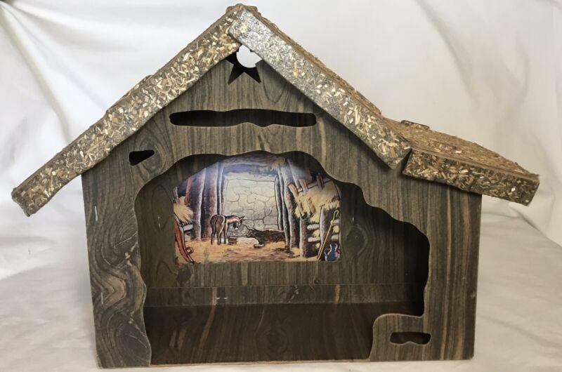 VINTAGE CARDBOARD CRECHE STABLE MANGER CHRISTMAS NATIVITY PRINTED SCENE
