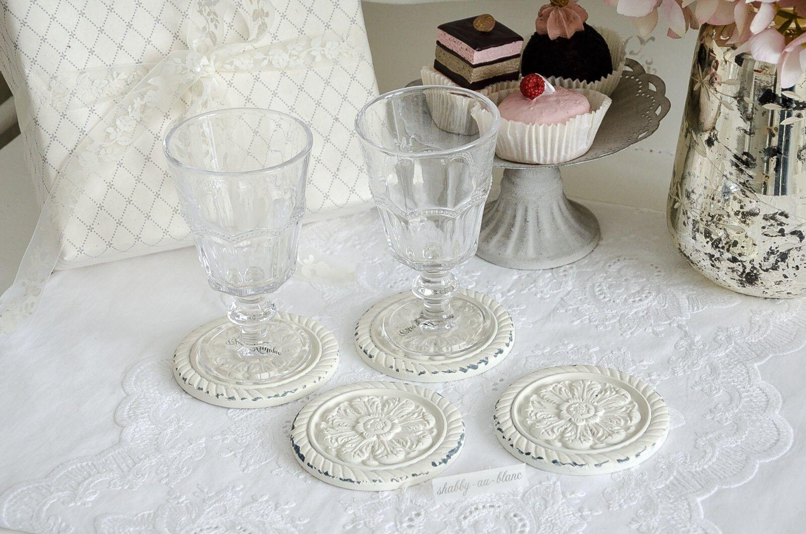4 Stück Shabby Vintage Glasuntersetzer aus Marmor FRANZÖSISCHE WEINE B Untersetz