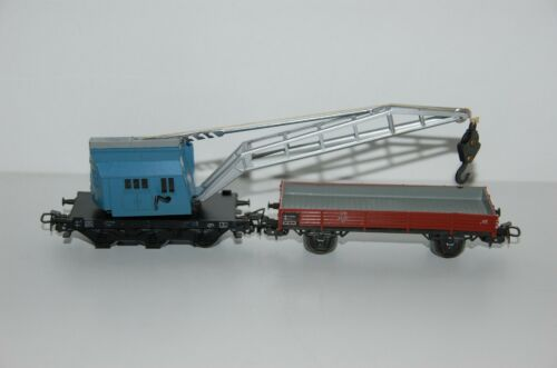 Märklin H0 4611 Camion Grue Avec Wagon à Bords Bas Top État