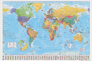 World Map Poster 100x140cm  Giant Wall Chart With Flags of the Globe Atlas #G003