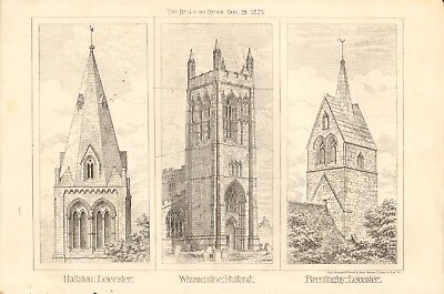 1875 ANTIQUE PRINT- ARCHITECTURE - CHURCH TOWERS, LEICESTER,RUTLAND