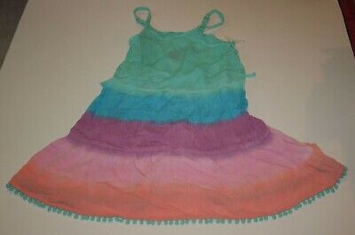 New Justice Girls Summer Cover Up Dress 20 Plus Ombre Pompom  Viscose Pink Green