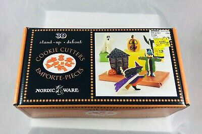 Halloween Nordic Ware 3D Stand Up Cookie Cutters Boxed Set Witch Ghost Cat JOL+