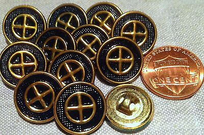 12 Polished Brass Tone Metal Dark Navy Blue Paint Buttons Almst 5/8