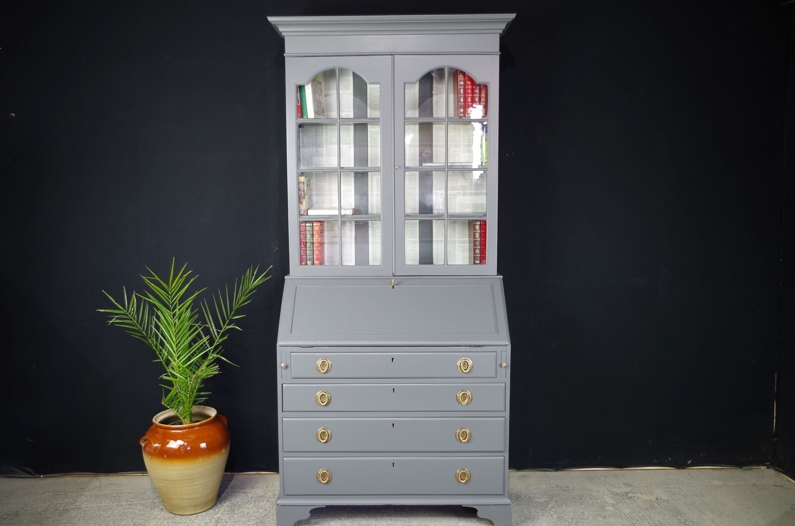 Antique Georgian Oak Bureau Desk/ Bookcase Painted  in Dark Grey