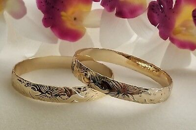 - 12mm Gold Hawaiian Heirloom Bangle Bracelet size 7
