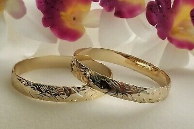 12mm Gold Hawaiian Heirloom Bangle Bracelet - Gold Bangle