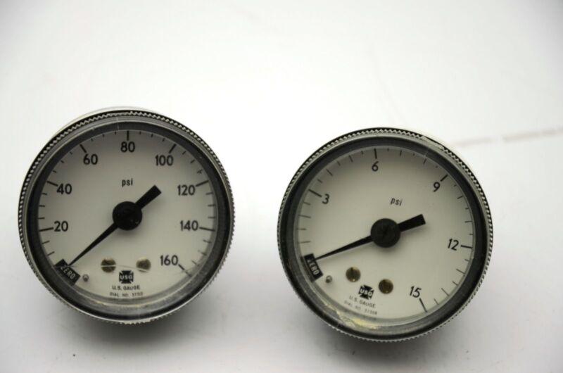 USG Ametek Gauges: 0-15 PSI, 0-160 PSI - Lot of 2