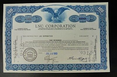 Bjstamps   Lnc Corporation Lincoln National Stock Certificate Pennsylvania 1963