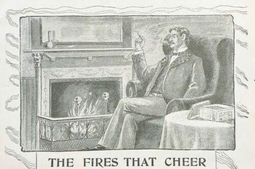1897 STANDARD PITTSBURG STOGIE R&W Jenkinson Vtg Cigar Print Ad~Man by Fireplace