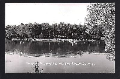 Richmond Minnesota MN c1960 RPPC Kurtz Riverside Resort, Docks, Boats, Cabins