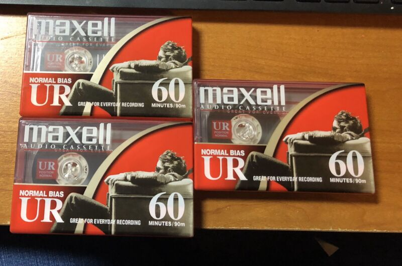 MAXELL AUDIO CASSETTES LOT OF 3 NORMAL BIAS UR 60 MINUTES NEW UNOPENED