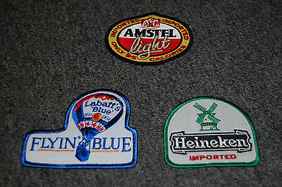 HEINEKEN  IMPORTED, LABATT'S BLUE, AMSTEL LIGHT BEER PATCH LOT  NEW  (RARE)