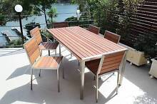STAINLESS STEEL TIMBER OUTDOOR TABLE SETTING. CAN CHANGE SIZE Padstow Bankstown Area Preview