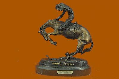 Frederic Remington Rattlesnake Bronze Sculpture Collectible Figurine Statue T