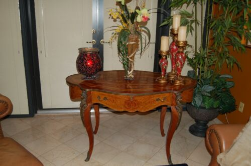 Antique French Boulle Style Table Desk With Drawer Inlay & Ormolu