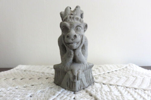 Vintage Winged Gargoyle Thinker Figurine Statue