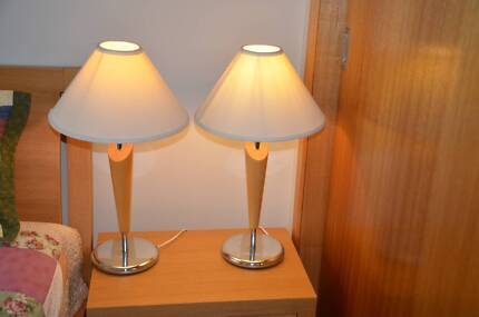 Pair of wood chrome base european style bedside table lamps