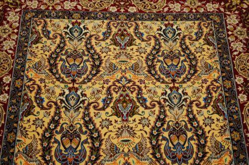 Ci 1970s Antique Master Piece Prsian I Sfahan Rug 3.8x5.5 Kurk Wool_silk Accents
