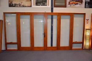 BIFOLD DOORS, SOLID CEDAR, 4410 x 2100H, 6mm TOUGHENED GLASS, NEW Bathurst Bathurst City Preview