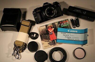 Canon AE-1 Program Camera w/ FD 50mm F 1:1.8 Canon Flash, Auto Winder, Strap +++