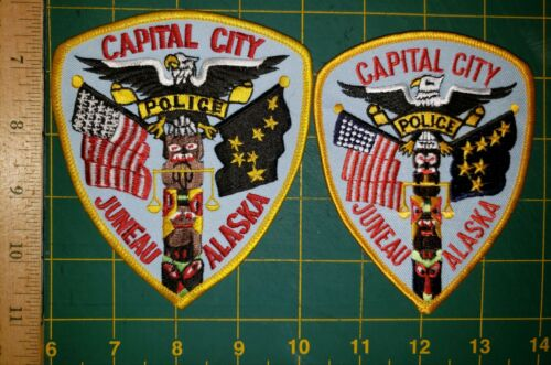 JUNEAU POLICE PATCH CAPITAL CITY ALASKA ESKIMO NATIVE SET OF TWO AK OLD AND REAL