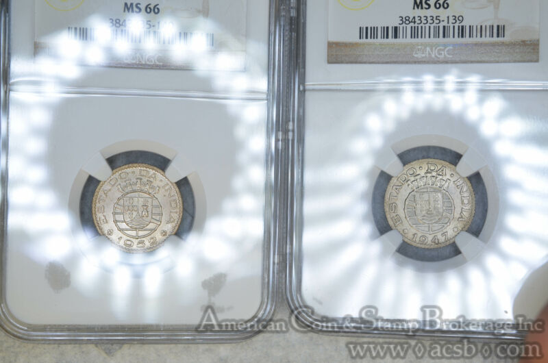 India-Portuguese 1/4 Rupia 1947 1952 MS66 NGC KM#25 COMPLETE 2 COIN SET