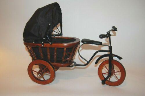 Vintage Wood & Metal Miniature Baby Doll Buggy Tricycle Carriage, Black & Brown
