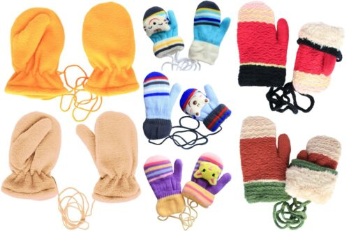 Kids Soft Fleece Plush Lined Mittens with String