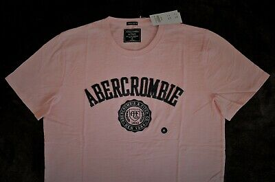 NWT Mens ABERCROMBIE Hollister Pink Applique Logo Crew T-Shirt  MEDIUM, LARGE