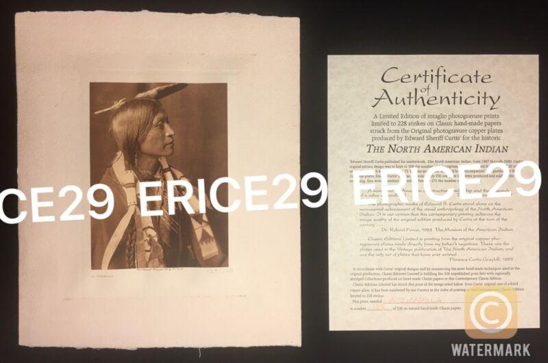Edward Curtis Jicarilla Photogravure From Original Copper Plates Ltd Ed. 123/228