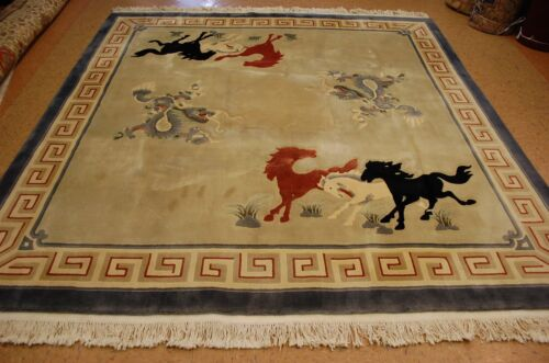 Circa 1970s Mint Art Deco Super Imperial Chinese Dragon_horse Design Rug 8.7x8.7