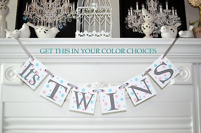 It's twins banner, twins baby banner, twins baby shower banner, twins baby decor (Twins Party Supplies)