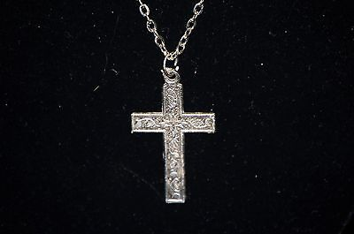 - Religious Silver Tone Cross Pendant on Chain w Incised Design Jewelry Necklace