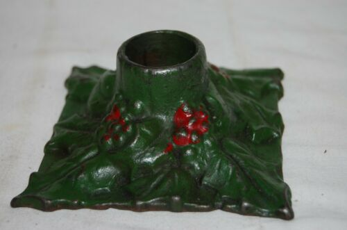 Antique  SNEAD  Cast Iron Christmas Candle Holder Holly  and  Leaves