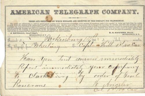 Rare Civil War Telegram States Rosecrans Orders  On Carnifex Ferry Battle