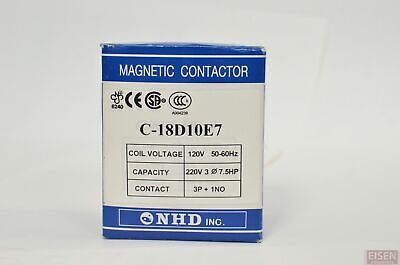 Nhd C-18d10e7 Magnetic Contactor For 7.5hp Motor 120v Coil Normally Open